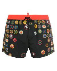 DSquared² - Black Badge Print Swim Shorts for Men - Lyst