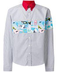 Lyst - Chemise rayée à appliqué imprimé Prada pour homme en coloris Gris 9196473a517
