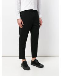 Homme Plissé Issey Miyake Black Cropped Casual Trousers for men