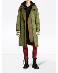 Burberry - Green Diamond Quilted Coat - Lyst