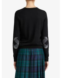 Burberry - Black Check Detail Sweater - Lyst