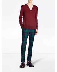Burberry - Red V-neck Sweater for Men - Lyst
