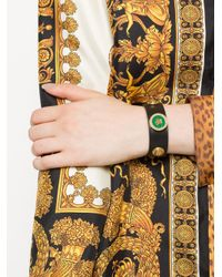 Versace - Black Front Logo Emblem Bracelet - Lyst