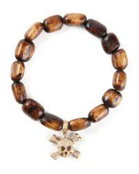 Loree Rodkin - Brown Gold And Diamond Skull Head Bracelet - Lyst