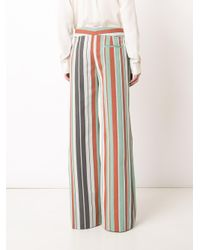 Chloé | Green Striped Flared Trousers | Lyst