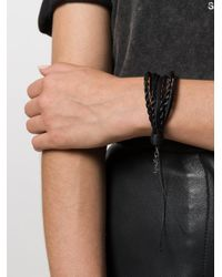 Saint Laurent - Black Multi-stranded Woven Bracelet - Lyst