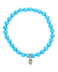 Loree Rodkin - Blue Turqoise Beaded Diamond Skull Charm Bracelet - Lyst