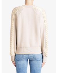 Burberry - Pink Cable Knit Detail Sweatshirt - Lyst