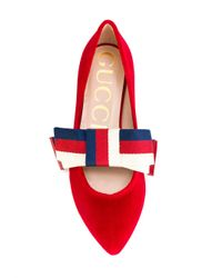 Gucci - Red Bow Ballerina Shoes - Lyst
