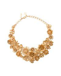 Oscar de la Renta - Metallic Large Gilded Floral Necklace - Lyst