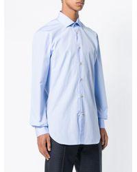 Kiton - Blue Plain Button Shirt for Men - Lyst