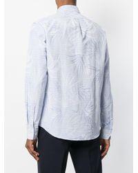 MICHAEL Michael Kors Blue Mixed-print Button-down Shirt for men