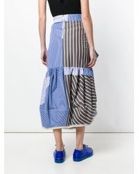 Marni - Blue Striped Tie Front Midi Skirt - Lyst