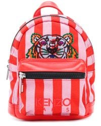 KENZO Red Small Tiger Striped Backpack for men