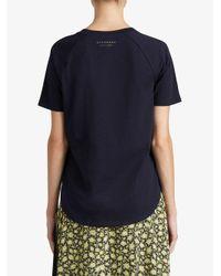 Burberry - Blue Ruffle Detail T-shirt - Lyst