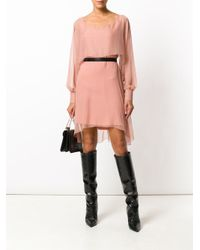 Alberta Ferretti - Pink Chiffon Mini Cape Dress - Lyst