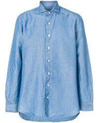 Lardini - Blue Embroidered Detail Shirt for Men - Lyst