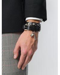 Alexander McQueen - Black Wraparound Skull Charm Bracelet for Men - Lyst