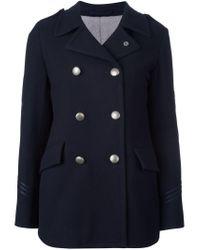 Lardini - Blue Double Breasted Coat - Lyst