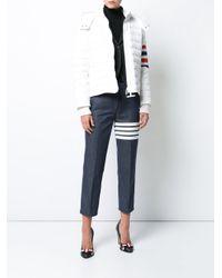 Thom Browne - White Downfill Ski Jacket With 4-bar Stripe & Removable Hood In Black Matte Nylon Poplin - Lyst