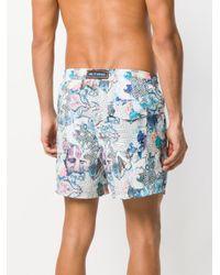Etro - Blue Printed Swim Shorts for Men - Lyst