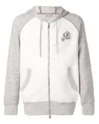 Moncler - Gray Hooded Zipped Bomber Jacket for Men - Lyst