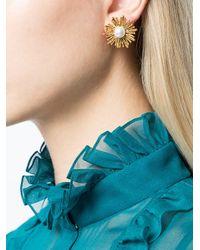 Oscar de la Renta | White Pearl Sun Earrings | Lyst