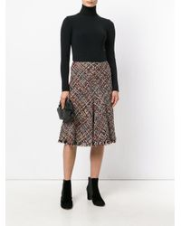 Alexander McQueen Black Flared Tweed Skirt