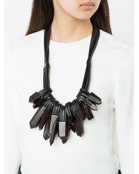 Monies - Black Crystal Multi Strand Necklace - Lyst
