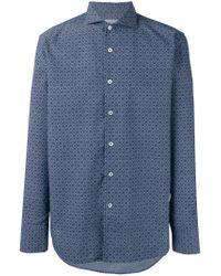 Canali - Blue Tile Print Slim-fit Shirt for Men - Lyst