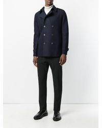 Harris Wharf London Blue Double-breasted Peacoat for men
