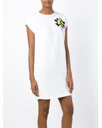 Stella McCartney - White Flower To The Chest Silk Dress - Lyst