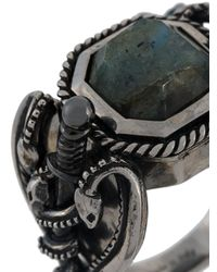 Alexander McQueen - Gray Tarnished Jewelled Ring for Men - Lyst
