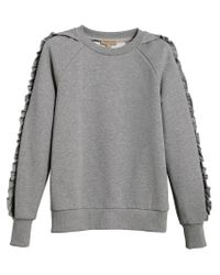 Burberry - Gray Ruffle Detail Sweatshirt - Lyst