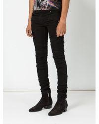 Balmain - Black Distressed Biker Jeans for Men - Lyst