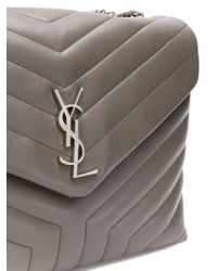 Saint Laurent - Gray Medium Loulou Chain Bag - Lyst