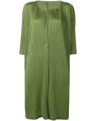 Pleats Please Issey Miyake - Green Cárdigan largo con pliegues - Lyst
