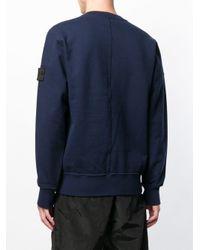 Stone Island - Blue Garment Dyed Drop Pocket Crewneck Sweatshirt for Men - Lyst