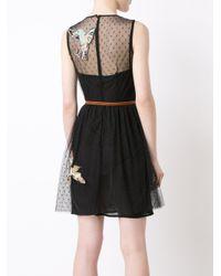 RED Valentino - Black Bird Patch Sheer Dress - Lyst