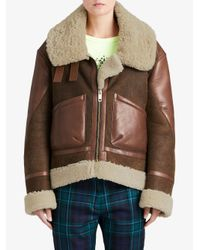 Burberry - Brown Panelled Aviator Jacket - Lyst