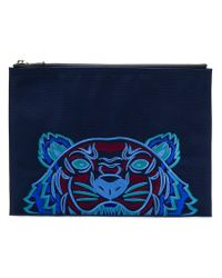 KENZO - Blue Tiger Embroidered Pouch for Men - Lyst