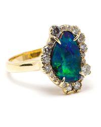 Kimberly Mcdonald - Blue 18k Yellow Gold Boulder Opal & Diamond Ring - Lyst