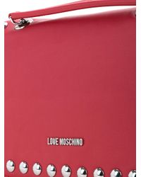 Love Moschino | Red Studded Logo Shoulder Bag | Lyst