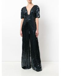Temperley London - Black Heart Sequin Plunge Jumpsuit - Lyst