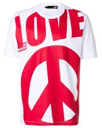 Love Moschino - White Love Print T-shirt for Men - Lyst
