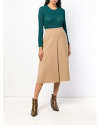 Rochas - Natural Flared Midi Skirt - Lyst