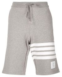 Thom Browne | Gray Striped Detail Track Shorts for Men | Lyst