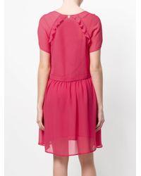 Twin Set - Pink V-neck Flared Dress - Lyst
