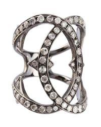 Loree Rodkin - Metallic Spiked Diamond Double Loop Ring - Lyst