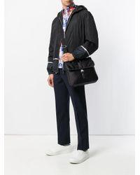 Prada Black Logo Print Messenger Bag for men